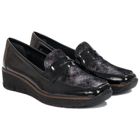 Rieker 53732-01 Black Flat Shoes